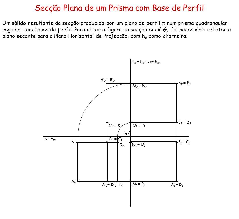 Secção Plana de um Prisma com Base de Perfil Um sólido resultante da secção produzida por um plano de perfil π num prisma quadrangular regular, com ba