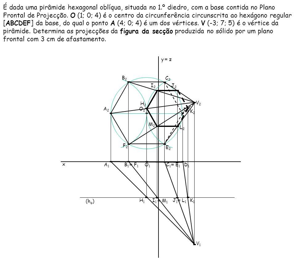 É dada uma pirâmide hexagonal oblíqua, situada no 1.º diedro, com a base contida no Plano Frontal de Projecção. O (1; 0; 4) é o centro da circunferênc