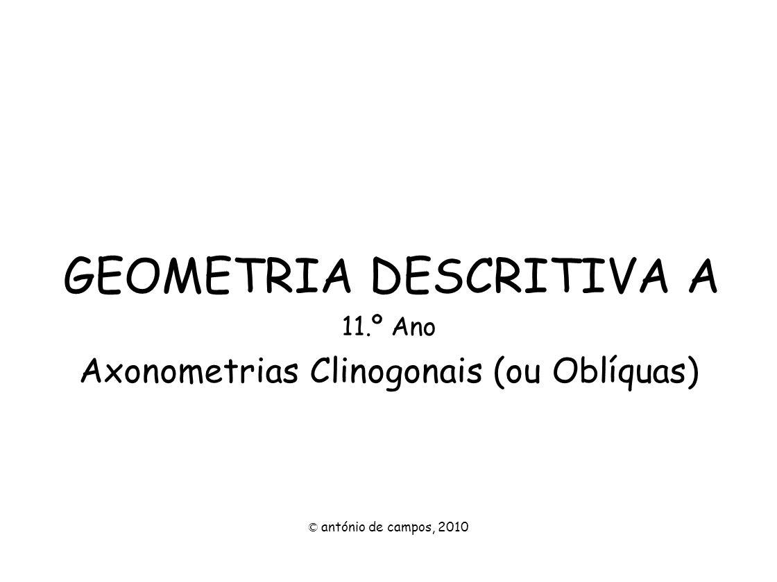 GENERALIDADES A representação do tiedro no plano axonométrico, a perspectiva, processa-se através da projecção oblíqua do terceiro eixo sobre o plano axonométrico.