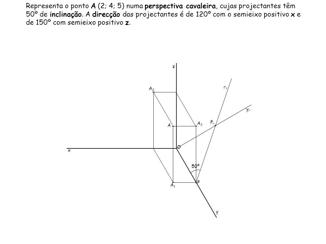 Representa o ponto A (2; 4; 5) numa perspectiva cavaleira, cujas projectantes têm 50º de inclinação. A direcção das projectantes é de 120º com o semie