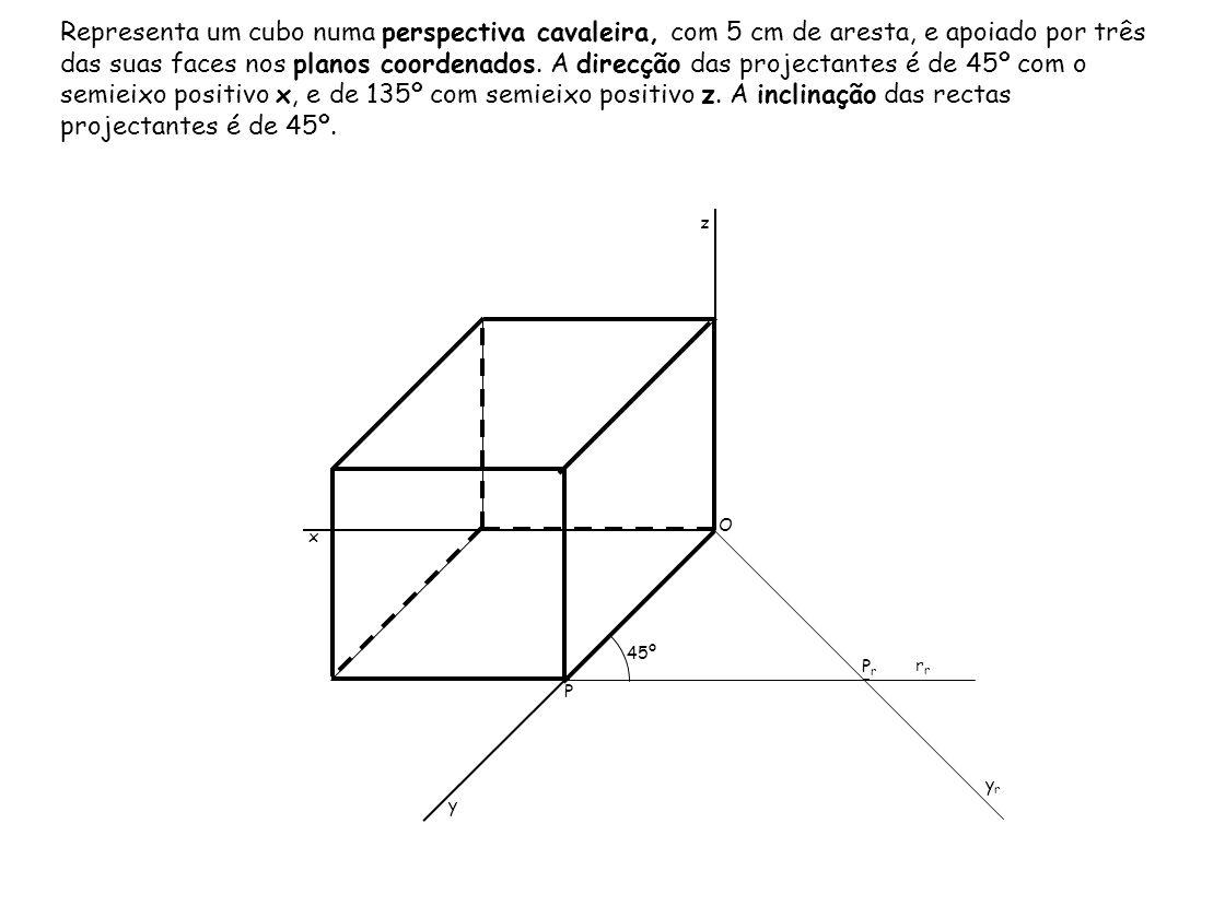 Representa um cubo numa perspectiva cavaleira, com 5 cm de aresta, e apoiado por três das suas faces nos planos coordenados. A direcção das projectant