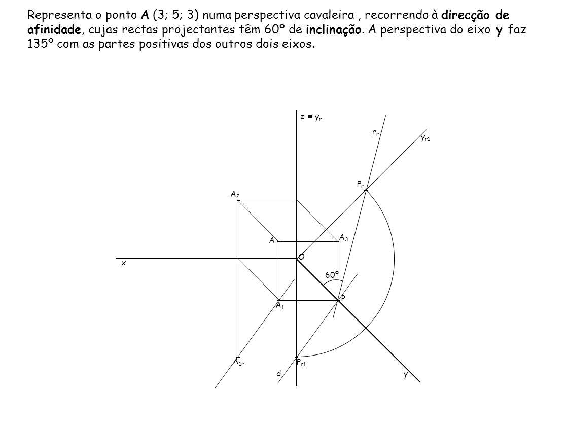 Representa o ponto A (3; 5; 3) numa perspectiva cavaleira, recorrendo à direcção de afinidade, cujas rectas projectantes têm 60º de inclinação. A pers