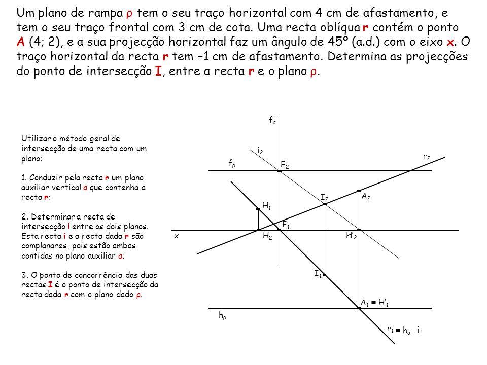 Um plano de rampa ρ tem o seu traço horizontal com 4 cm de afastamento, e tem o seu traço frontal com 3 cm de cota. Uma recta oblíqua r contém o ponto