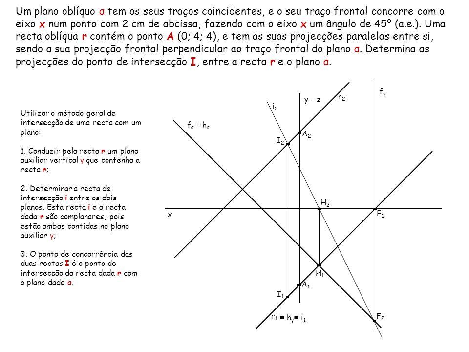 Um plano oblíquo α tem os seus traços coincidentes, e o seu traço frontal concorre com o eixo x num ponto com 2 cm de abcissa, fazendo com o eixo x um