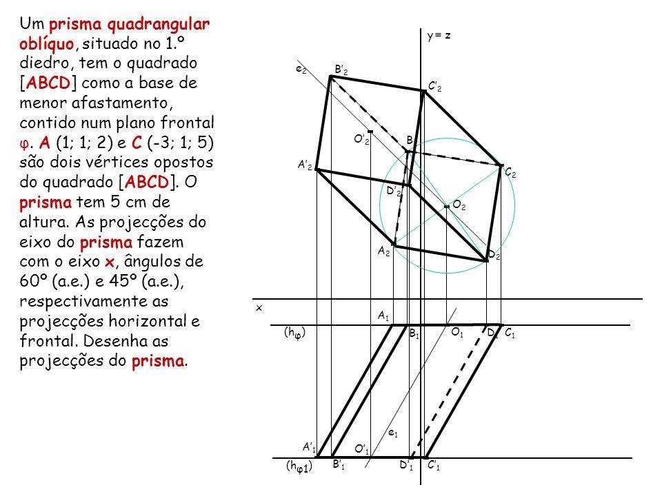 Um prisma quadrangular oblíquo, situado no 1.º diedro, tem o quadrado [ABCD] como a base de menor afastamento, contido num plano frontal φ. A (1; 1; 2