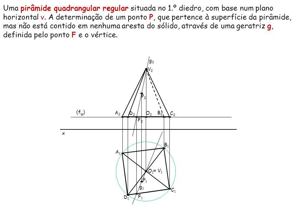 Uma pirâmide quadrangular regular situada no 1.º diedro, com base num plano horizontal ν. A determinação de um ponto P, que pertence à superfície da p