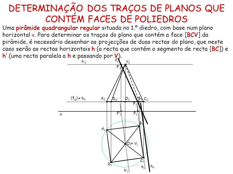 DETERMINAÇÃO DOS TRAÇOS DE PLANOS QUE CONTÉM FACES DE POLIEDROS Uma pirâmide quadrangular regular situada no 1.º diedro, com base num plano horizontal
