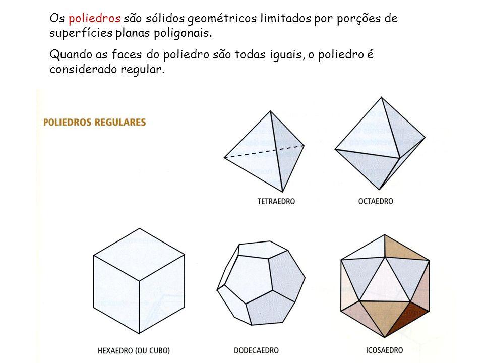 Os poliedros são sólidos geométricos limitados por porções de superfícies planas poligonais. Quando as faces do poliedro são todas iguais, o poliedro