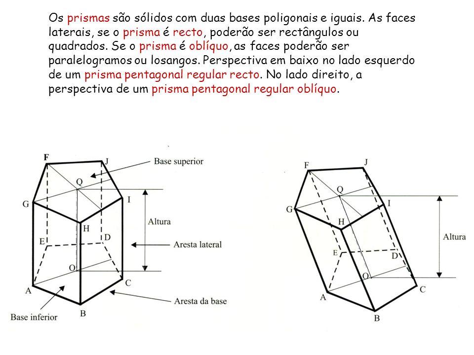 Os prismas são sólidos com duas bases poligonais e iguais. As faces laterais, se o prisma é recto, poderão ser rectângulos ou quadrados. Se o prisma é