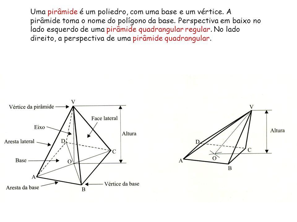 Uma pirâmide é um poliedro, com uma base e um vértice. A pirâmide toma o nome do polígono da base. Perspectiva em baixo no lado esquerdo de uma pirâmi