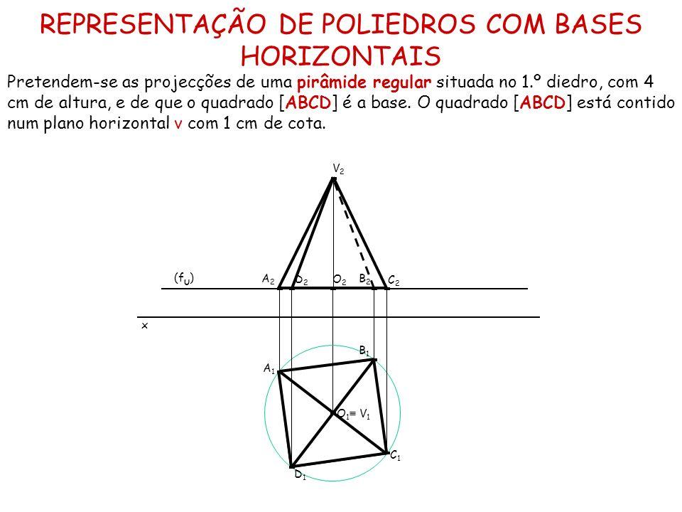 REPRESENTAÇÃO DE POLIEDROS COM BASES HORIZONTAIS Pretendem-se as projecções de uma pirâmide regular situada no 1.º diedro, com 4 cm de altura, e de qu