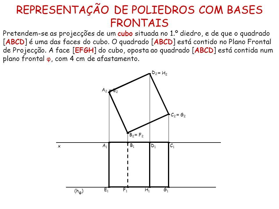 REPRESENTAÇÃO DE POLIEDROS COM BASES FRONTAIS Pretendem-se as projecções de um cubo situada no 1.º diedro, e de que o quadrado [ABCD] é uma das faces