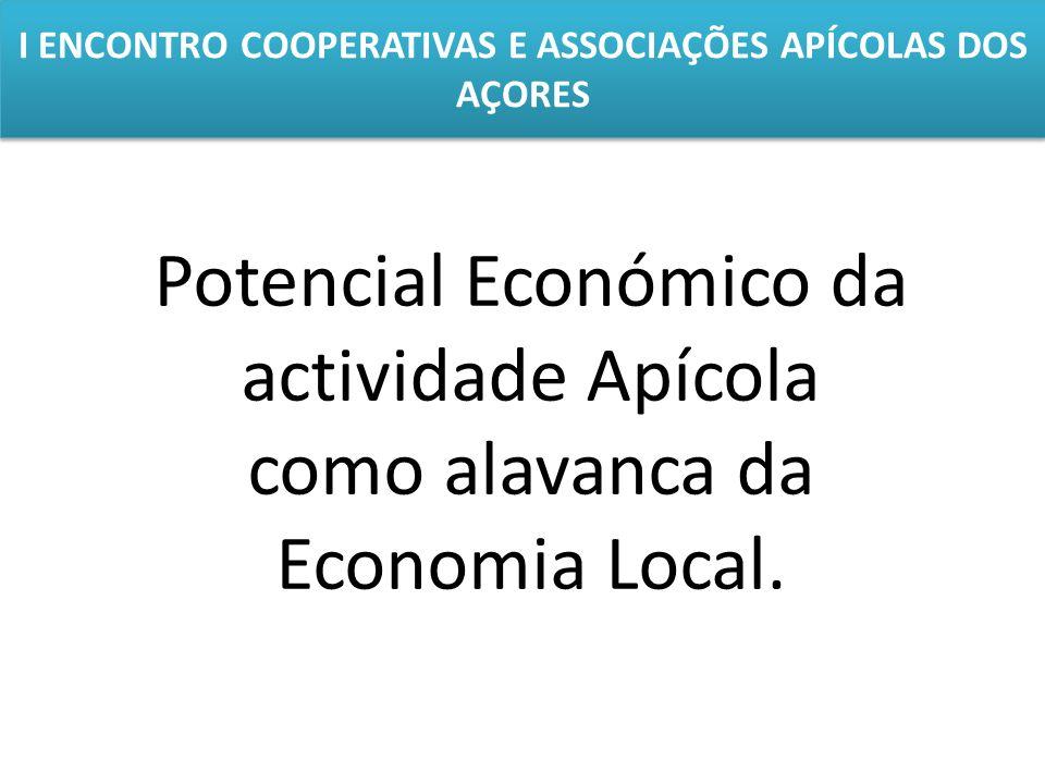 I ENCONTRO COOPERATIVAS E ASSOCIAÇÕES APÍCOLAS DOS AÇORES Potencial Económico da actividade Apícola como alavanca da Economia Local.
