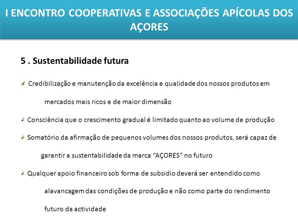 I ENCONTRO COOPERATIVAS E ASSOCIAÇÕES APÍCOLAS DOS AÇORES 5. Sustentabilidade futura Credibilização e manutenção da excelência e qualidade dos nossos