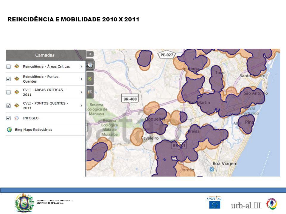 GOVERNO DO ESTADO DE PERNAMBUCO SECRETARIA DE DEFESA SOCIAL REINCIDÊNCIA E MOBILIDADE 2010 X 2011