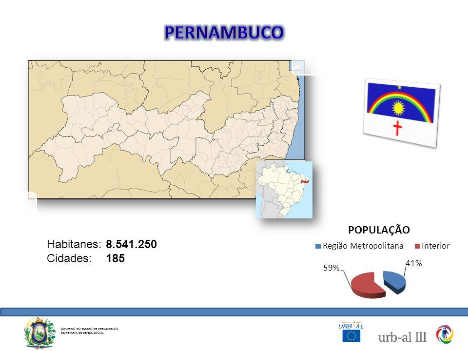 GOVERNO DO ESTADO DE PERNAMBUCO SECRETARIA DE DEFESA SOCIAL Habitanes: 8.541.250 Cidades: 185