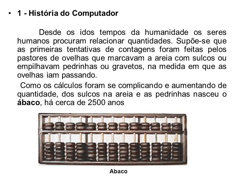 1 - História do Computador Desde os idos tempos da humanidade os seres humanos procuram relacionar quantidades.
