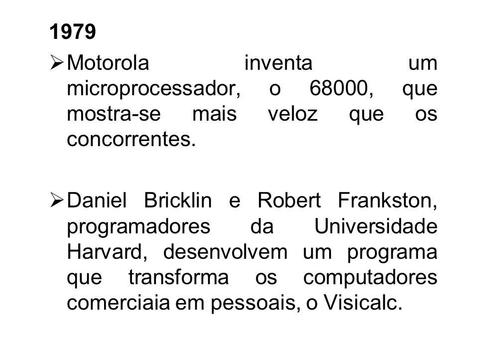 1978 O VAX 11/780, da Digital Equipment Corporation, caracterizou-se por ser uma máquina capaz de processar até 4.3 gigabytes de memória virtual, prov