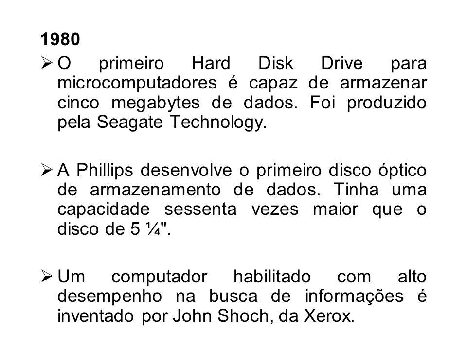 1979 Motorola inventa um microprocessador, o 68000, que mostra-se mais veloz que os concorrentes. Daniel Bricklin e Robert Frankston, programadores da