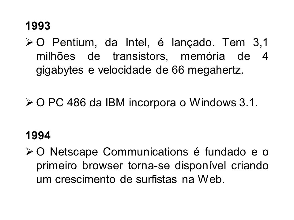 1990 Há uma atualização do windows. O Windows 3.0, que foi lançado em 22 de maio, é compatível com o DOS. Nasce a World Wide Web do desenvolvimento do