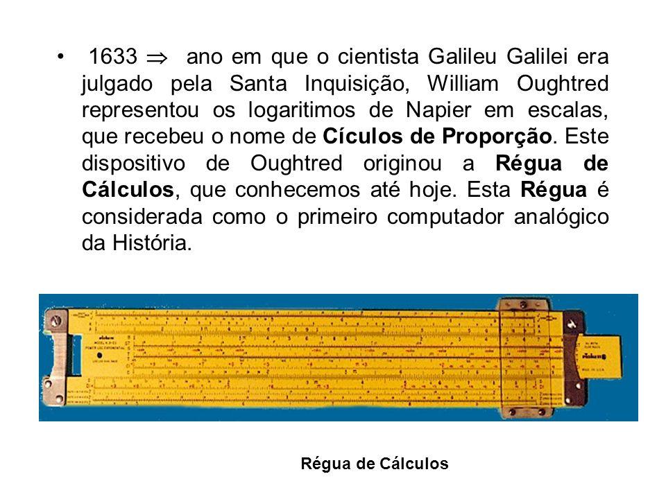 1633 ano em que o cientista Galileu Galilei era julgado pela Santa Inquisição, William Oughtred representou os logaritimos de Napier em escalas, que recebeu o nome de Cículos de Proporção.