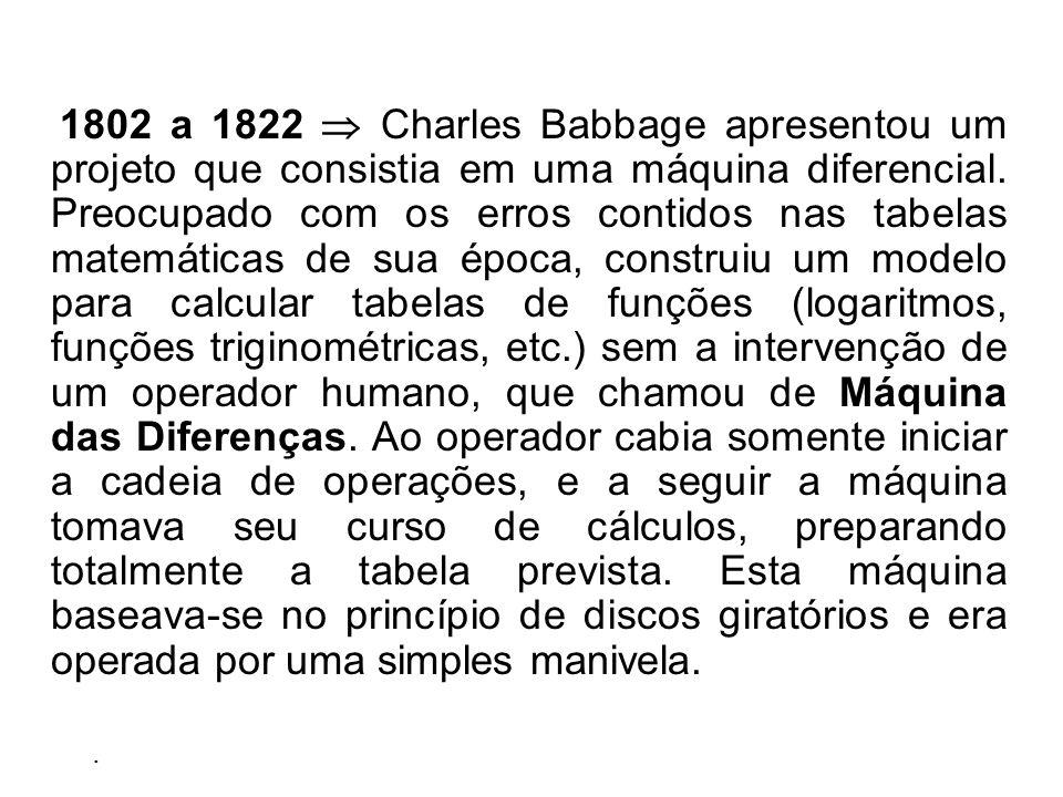 1802 a 1822 Charles Babbage apresentou um projeto que consistia em uma máquina diferencial.