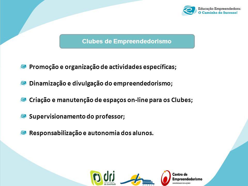 Clubes de Empreendedorismo Promoção e organização de actividades específicas; Dinamização e divulgação do empreendedorismo; Criação e manutenção de es