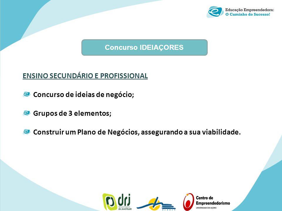 Concurso IDEIAÇORES ENSINO SECUNDÁRIO E PROFISSIONAL Concurso de ideias de negócio; Grupos de 3 elementos; Construir um Plano de Negócios, assegurando