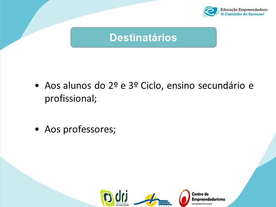 Aos alunos do 2º e 3º Ciclo, ensino secundário e profissional; Aos professores; Destinatários