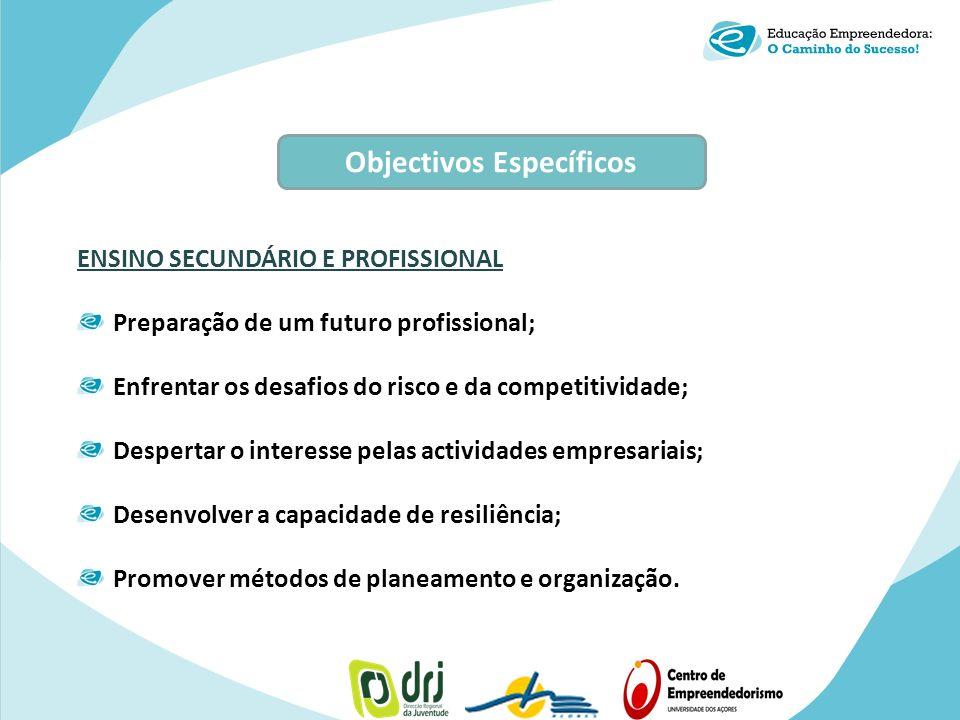 ENSINO SECUNDÁRIO E PROFISSIONAL Preparação de um futuro profissional; Enfrentar os desafios do risco e da competitividade; Despertar o interesse pela