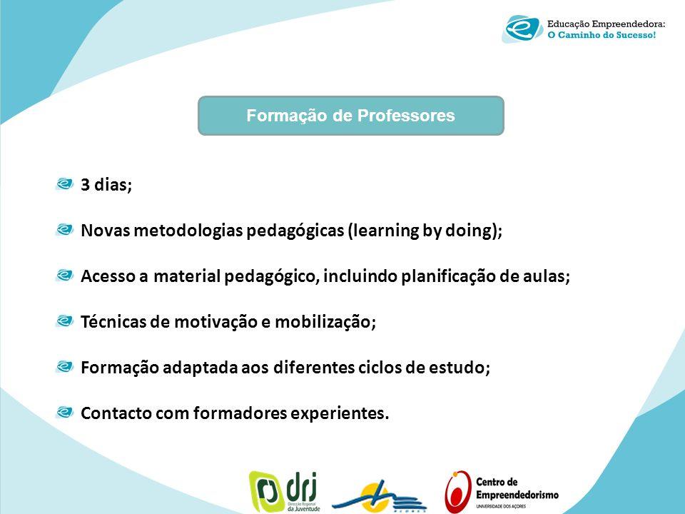 3 dias; Novas metodologias pedagógicas (learning by doing); Acesso a material pedagógico, incluindo planificação de aulas; Técnicas de motivação e mob