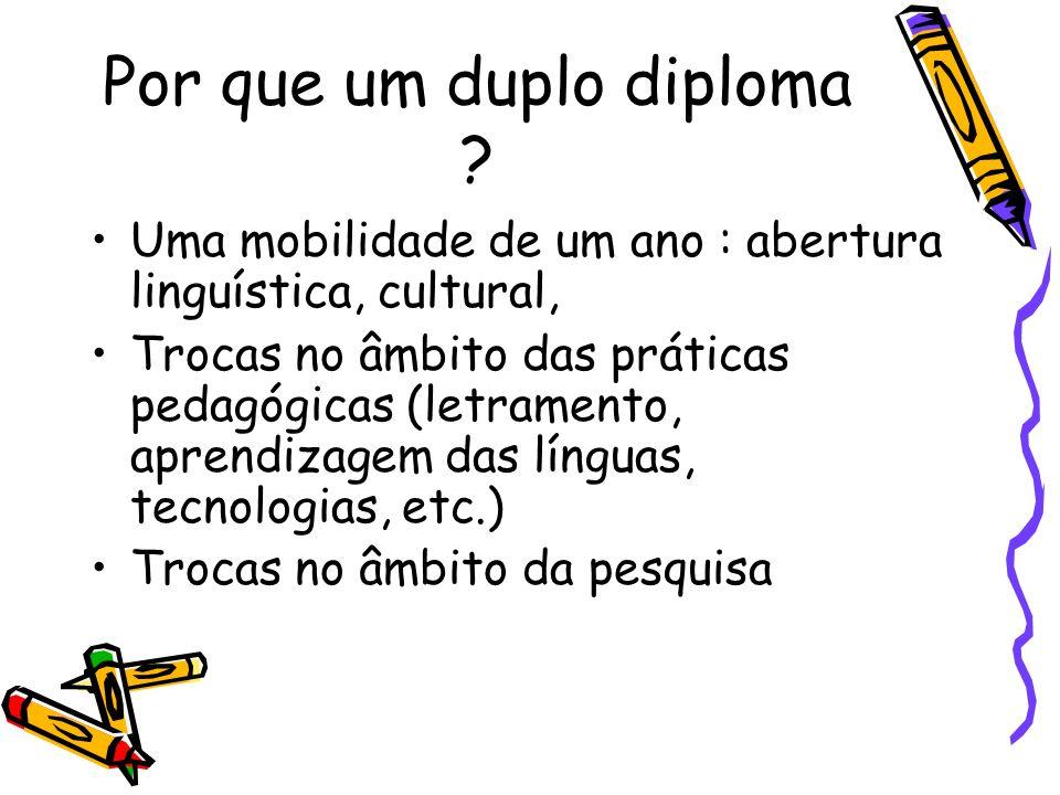 Por que um duplo diploma ? Uma mobilidade de um ano : abertura linguística, cultural, Trocas no âmbito das práticas pedagógicas (letramento, aprendiza