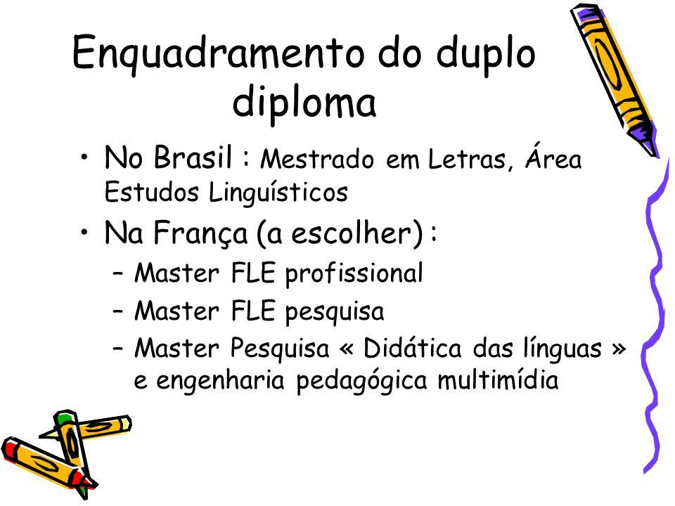 Enquadramento do duplo diploma No Brasil : Mestrado em Letras, Área Estudos Linguísticos Na França (a escolher) : –Master FLE profissional –Master FLE