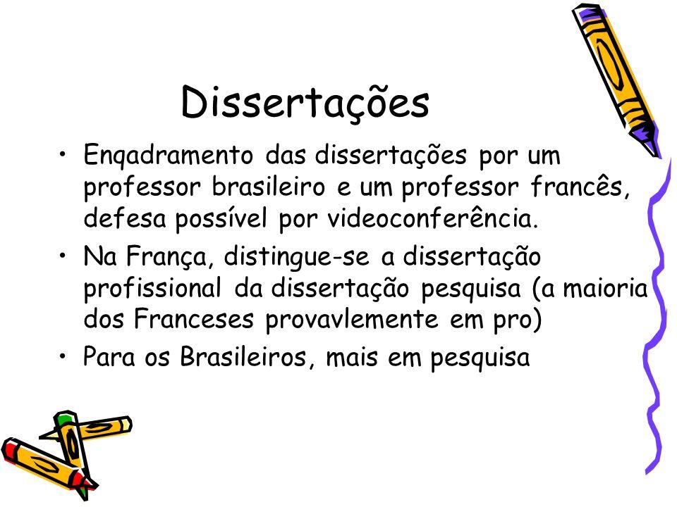 Dissertações Enqadramento das dissertações por um professor brasileiro e um professor francês, defesa possível por videoconferência. Na França, distin