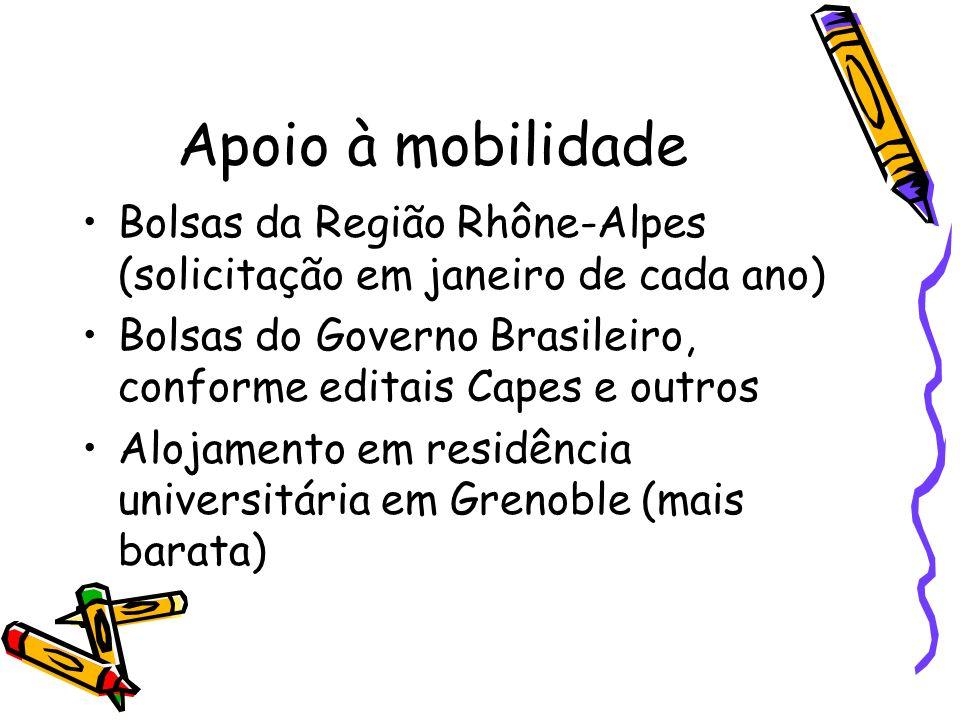 Apoio à mobilidade Bolsas da Região Rhône-Alpes (solicitação em janeiro de cada ano) Bolsas do Governo Brasileiro, conforme editais Capes e outros Alo