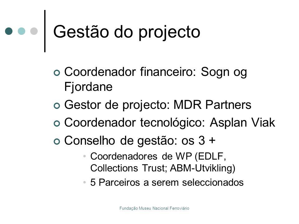 Fundação Museu Nacional Ferroviário Gestão do projecto Coordenador financeiro: Sogn og Fjordane Gestor de projecto: MDR Partners Coordenador tecnológi
