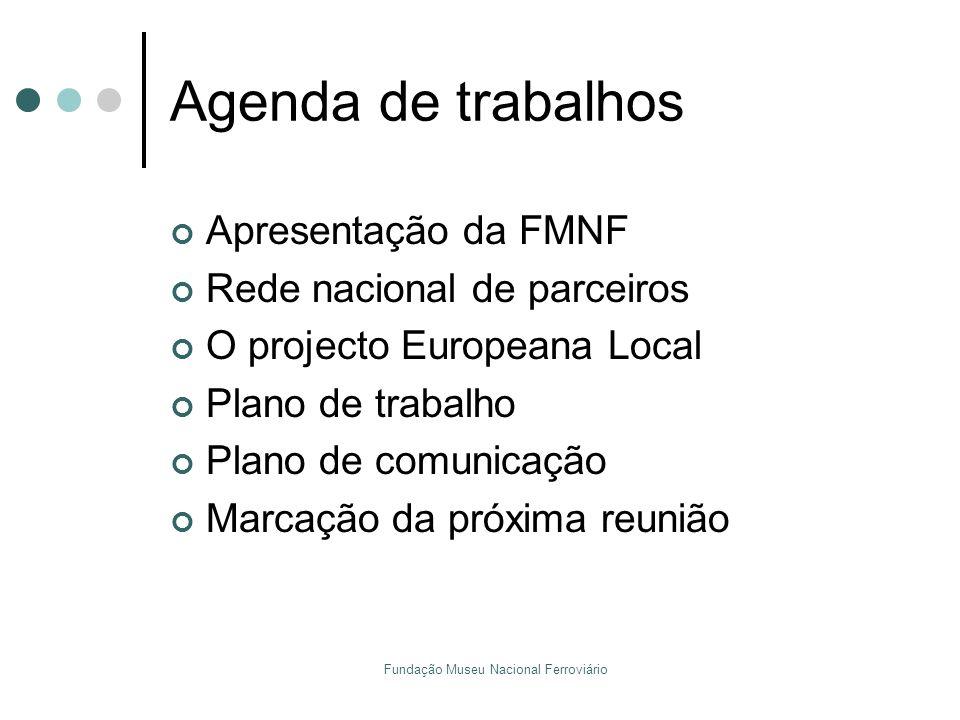 Fundação Museu Nacional Ferroviário Agenda de trabalhos Apresentação da FMNF Rede nacional de parceiros O projecto Europeana Local Plano de trabalho P