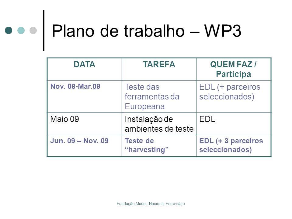 Fundação Museu Nacional Ferroviário Plano de trabalho – WP3 DATATAREFAQUEM FAZ / Participa Nov. 08-Mar.09 Teste das ferramentas da Europeana EDL (+ pa
