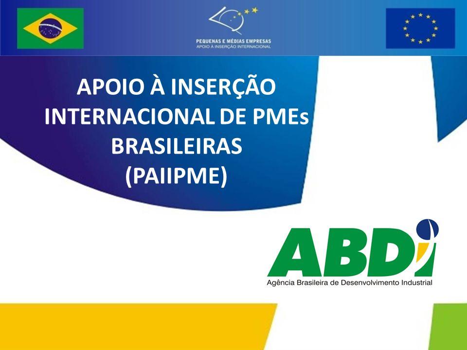Apoiar o processo de inserção competitiva de PMEs brasileiras no mercado mundial, por meio de instrumentos que reforcem os laços econômicos e comerciais entre o Brasil e os países da União Européia: Melhorar a capacidade de gestão das PMEs para operações internacionais; Melhorar o conhecimento pelas PMEs dos mercados potenciais; Melhorar os processos produtivos e serviços oferecidos pelas PMEs; Melhorar o ambiente para internacionalização das PMEs; Apoiar o estabelecimento de parcerias com instituições e empresas dos mercados-alvo.