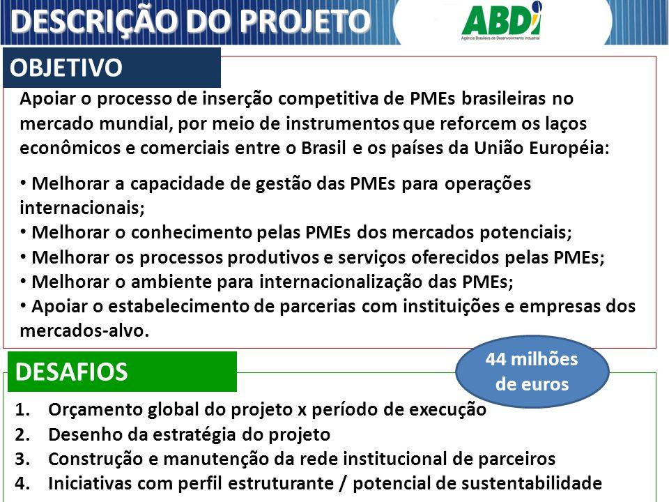 Apoiar o processo de inserção competitiva de PMEs brasileiras no mercado mundial, por meio de instrumentos que reforcem os laços econômicos e comercia