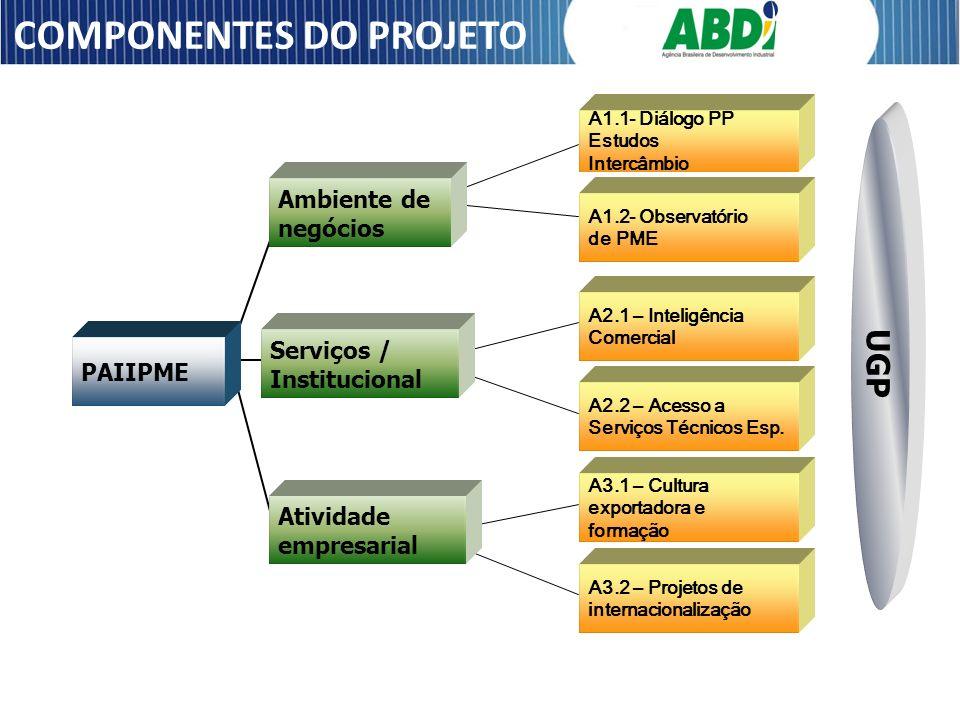 PAIIPME Ambiente de negócios Serviços / Institucional Atividade empresarial A1.1- Diálogo PP Estudos Intercâmbio A1.2- Observatório de PME A2.1 – Inte