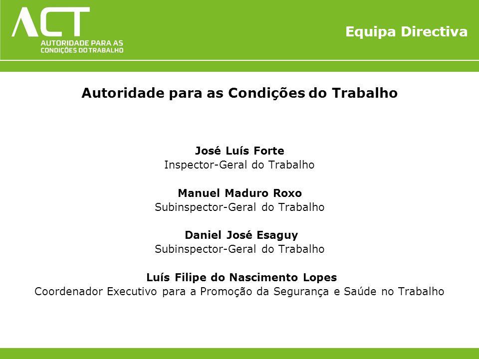 Equipa Directiva Autoridade para as Condições do Trabalho José Luís Forte Inspector-Geral do Trabalho Manuel Maduro Roxo Subinspector-Geral do Trabalh
