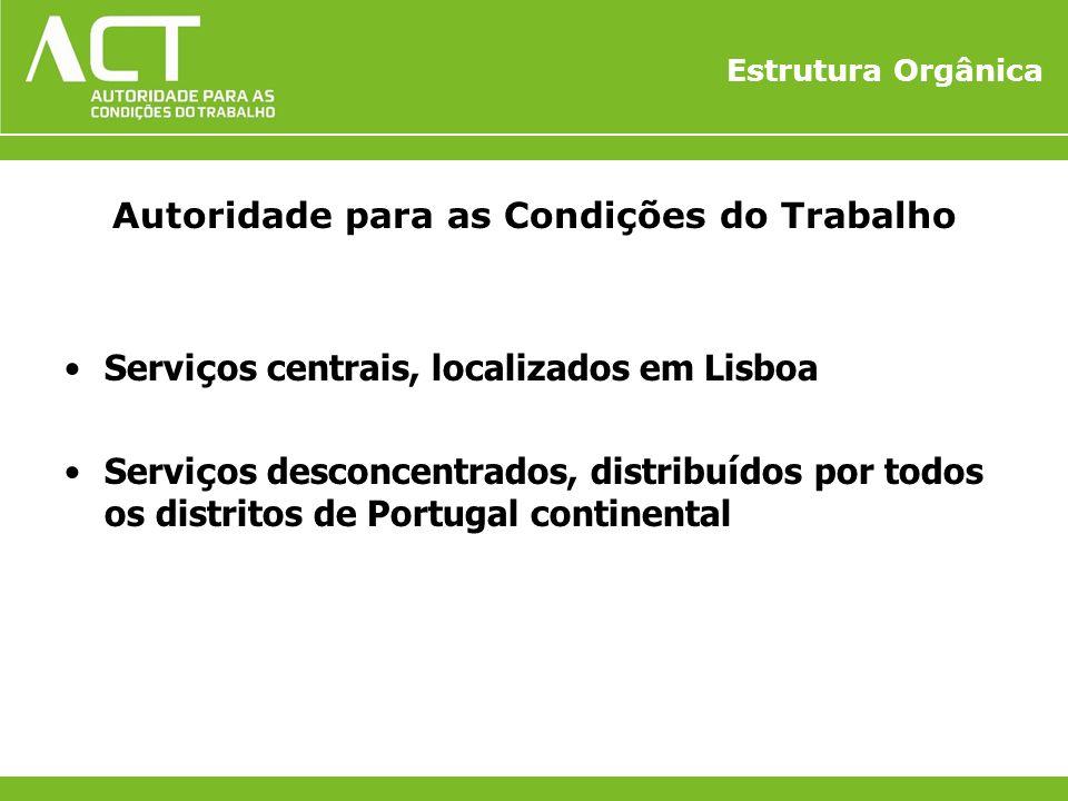 Estrutura Orgânica Autoridade para as Condições do Trabalho Servi ç os centrais, localizados em Lisboa Servi ç os desconcentrados, distribu í dos por