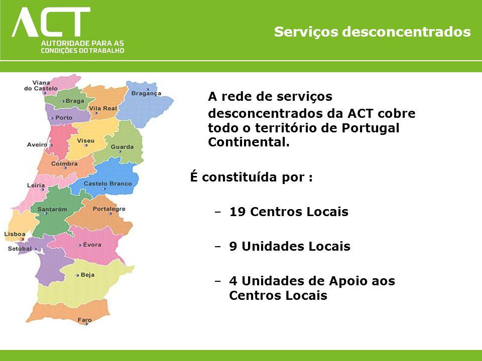Serviços desconcentrados A rede de serviços desconcentrados da ACT cobre todo o território de Portugal Continental. É constituída por : –19 Centros Lo
