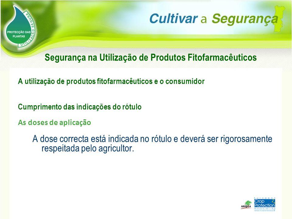 A utilização de produtos fitofarmacêuticos e o consumidor Cumprimento das indicações do rótulo As doses de aplicação A dose correcta está indicada no