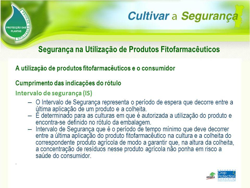 A utilização de produtos fitofarmacêuticos e o consumidor Cumprimento das indicações do rótulo Intervalo de segurança (IS) – O Intervalo de Segurança