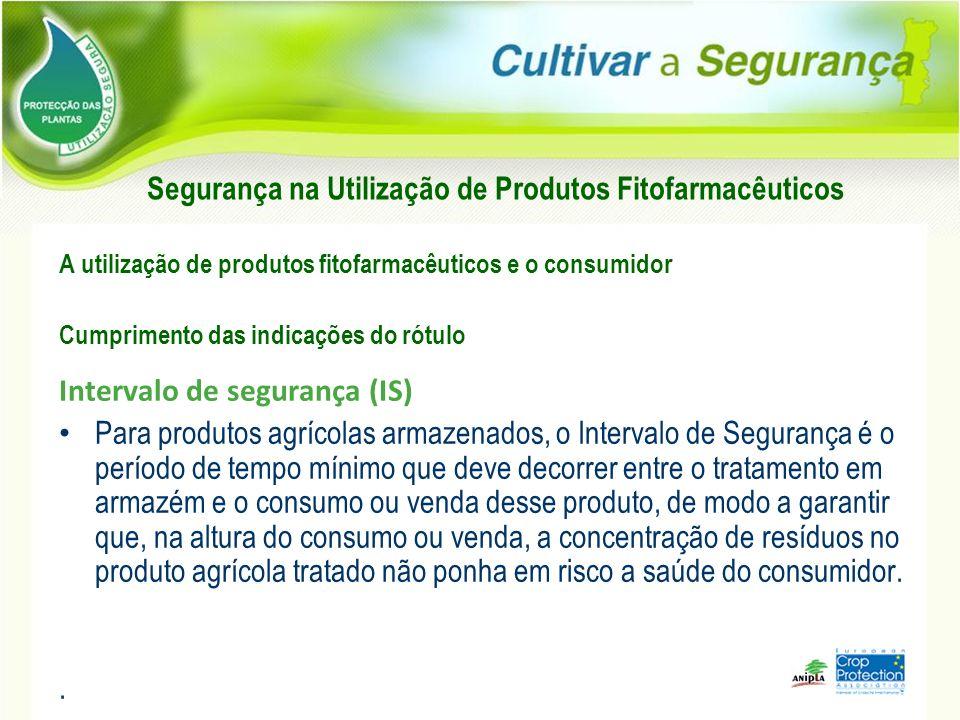 A utilização de produtos fitofarmacêuticos e o consumidor Cumprimento das indicações do rótulo Intervalo de segurança (IS) Para produtos agrícolas arm