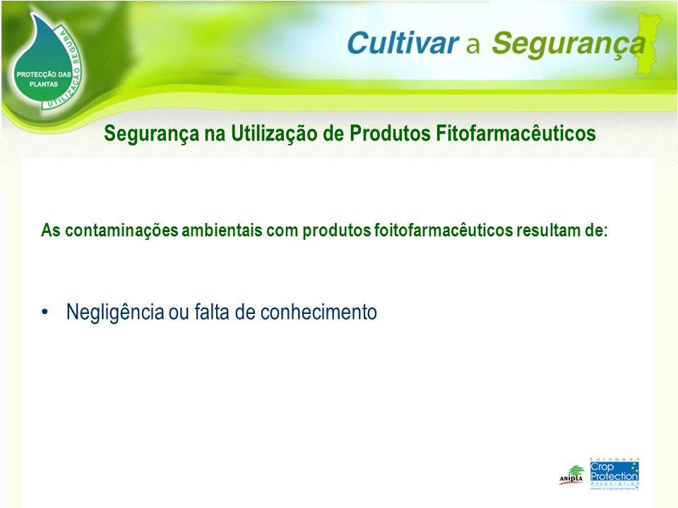 As contaminações ambientais com produtos foitofarmacêuticos resultam de: Negligência ou falta de conhecimento Segurança na Utilização de Produtos Fito