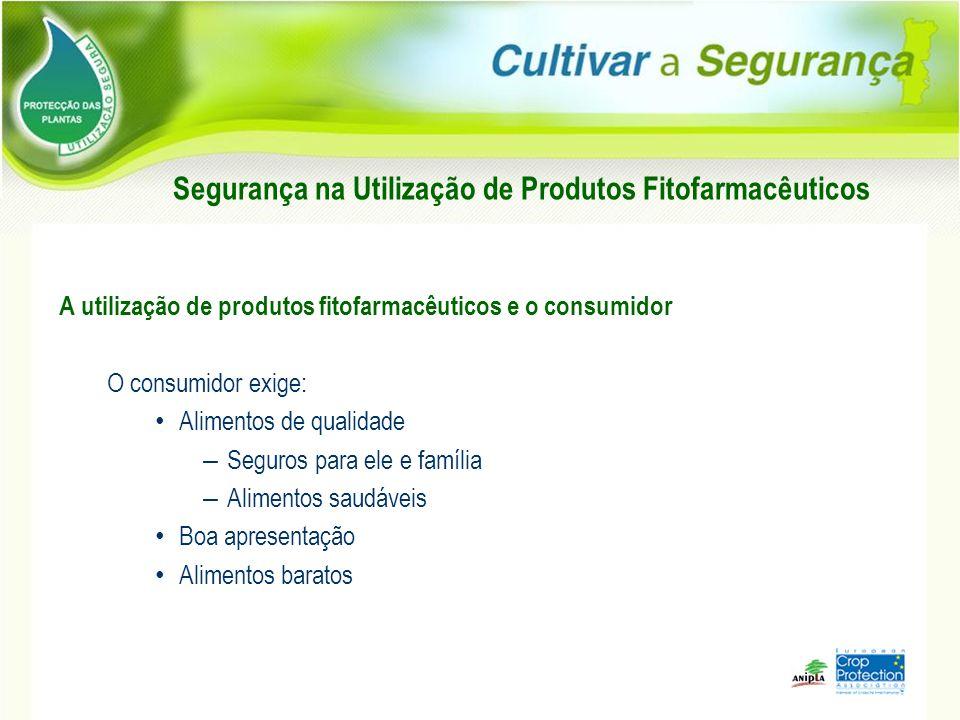 A utilização de produtos fitofarmacêuticos e o consumidor O consumidor exige: Alimentos de qualidade – Seguros para ele e família – Alimentos saudávei