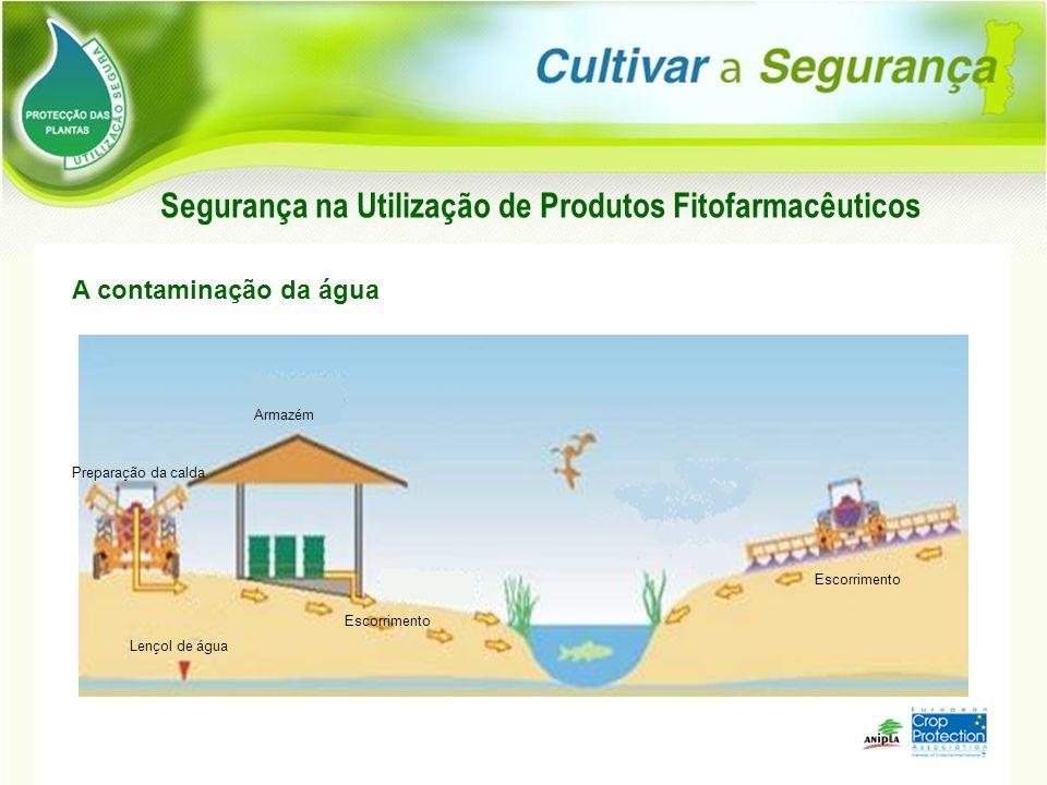 Escorrimento Armazém Preparação da calda Lençol de água Segurança na Utilização de Produtos Fitofarmacêuticos A contaminação da água